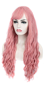 long pink curly wigs