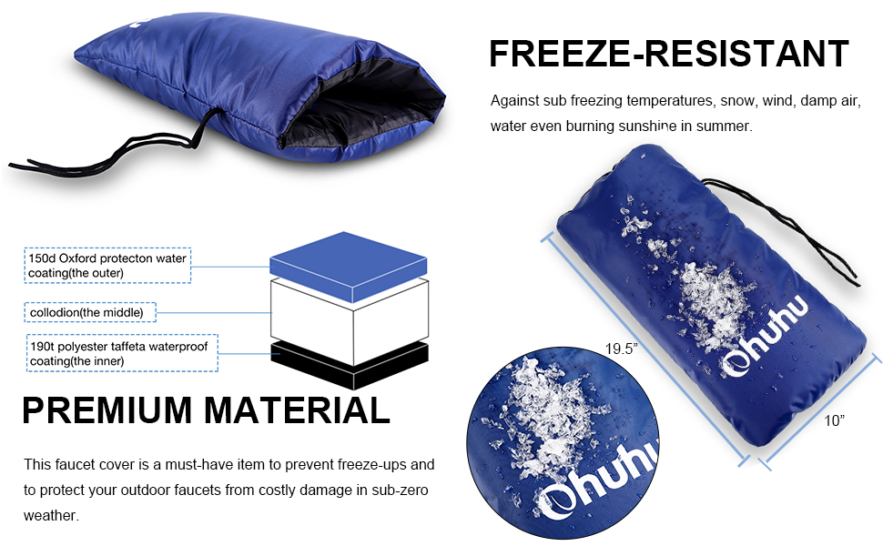"""Ohuhu 19.5/"""" x 10/"""" Long Faucet Cover Faucet Sock for Freeze Protection"""