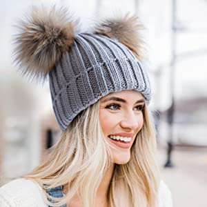 Hot Lady Winter Racoon Fur Double Pom Pom Ball Knit Beanie Ski Cap Bobble Hat
