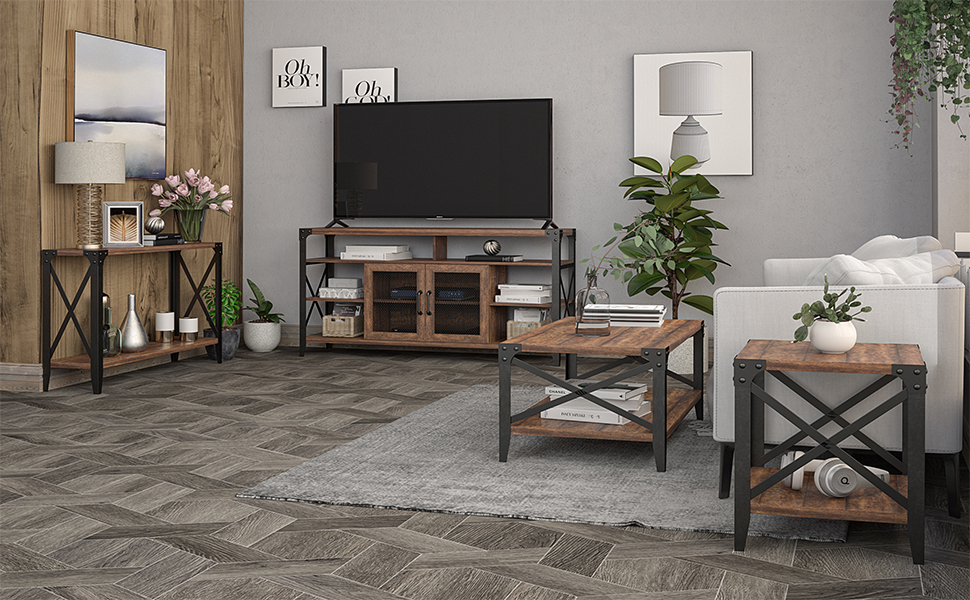 OKD Reclaimed Barnwood Oak Color Furniture Set