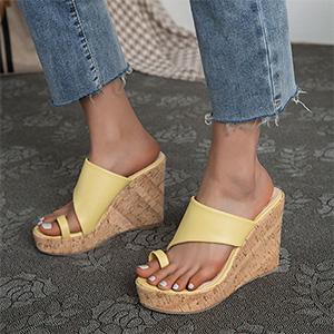 yellow sandals cork sandals wedge sandals platform sandals