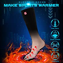 Christmas gift present electric heated socks men sox for outdoor activities camping hiking riding