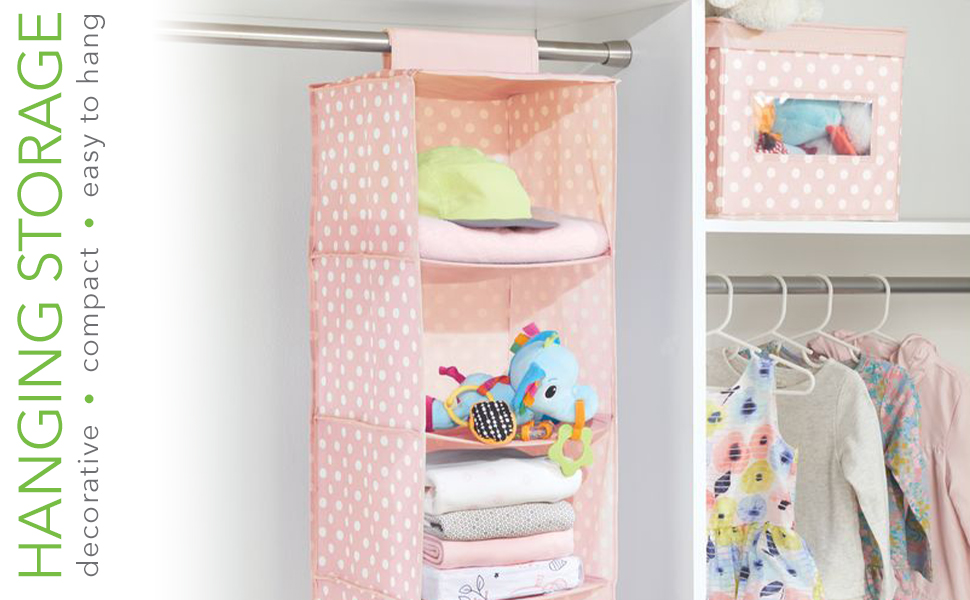 Soft Fabric Over Closet Rod Hanging Storage Organizer with 6 Shelves for Child/Kids Room or Nursery