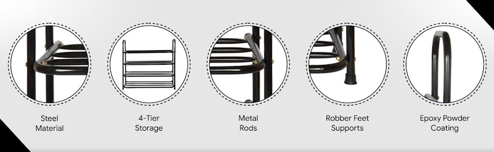 Benesta Multi-Purpose Steel Shoe Rack - (4 Tier, Black)- SPN-FOR-1