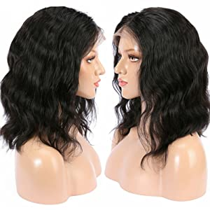 natural wave bob lace front wigs