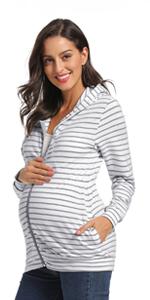Maternity Hoodie Long Sleeve Zip Up