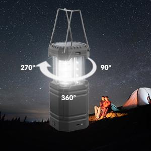 LED solar camping lantern flashlight