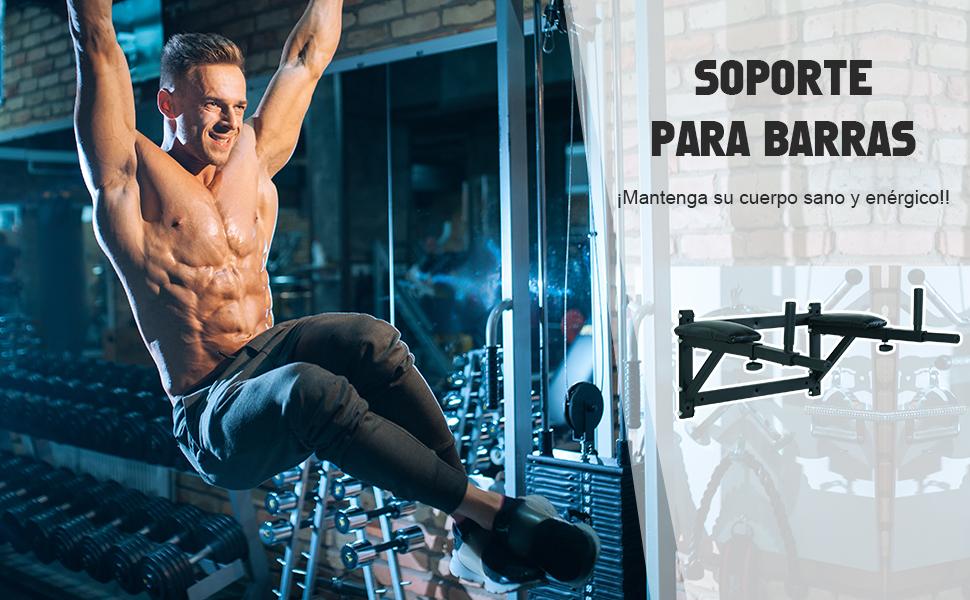 HOMCOM Barra de Musculación para Pared con Brazos Ajustables para Hacer Dominadas Flexiones y Crossfit en Casa 70x53-63x48 cm Negro