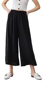 Linen Cotton Wide Leg Cropped Pants