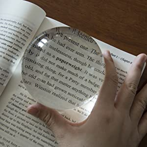 95mm 4 Inch Acrylic Paperweight Reading Magnifying Glass//Dome Magnifier//Paperweight Optical Half Ball Lens with a 30x Jewelry Magnifier