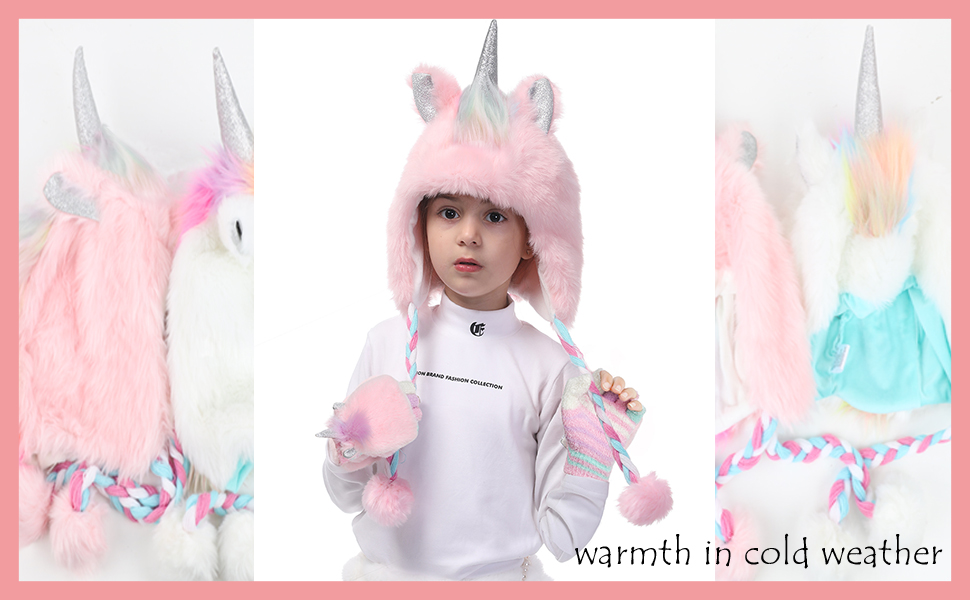 Little Girls Winter Unicorn Beanie Hat and Gloves Set Kids Knitted Earflap Cap Flip Top Mitten Set