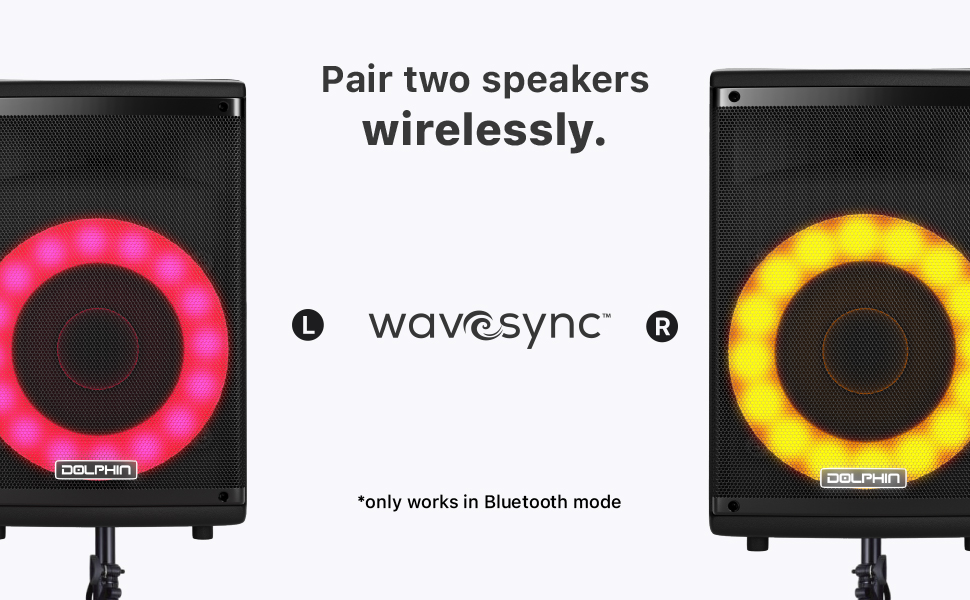 Party Speaker Bluetooth TWS wavesync pair setup system stereo bbq outdoor portable PA lights move