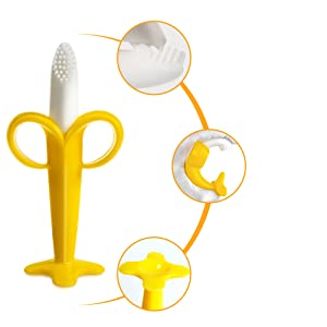 Baby banana toothbrush teether toy with multiple textured grooves to massage baby's teeth and gums
