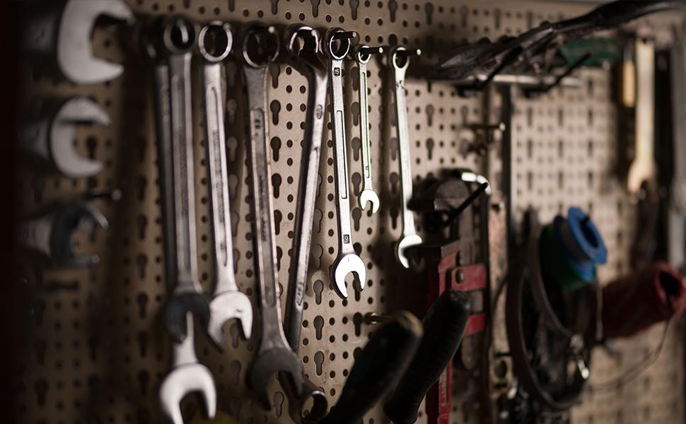 Banco de trabajo de metal con cajones de pared y de taller 120x60cm + 2 cajones y 2 estantes para herramientas: Amazon.es: Bricolaje y herramientas