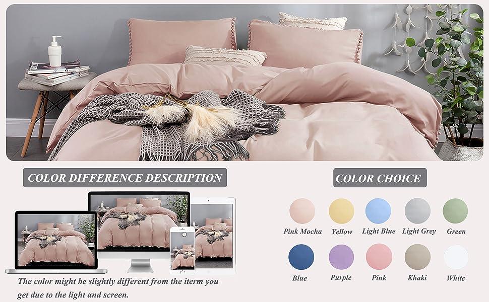 pink mocha duvet cover color difference description