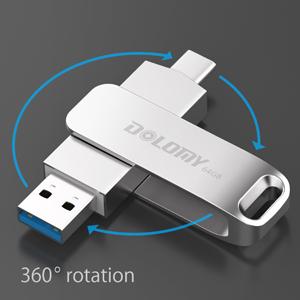 64GB USB 3.1Type C Drive, 2 in 1 OTG Dual Flash Drive, Metal USB C Jump Drive for MacBook Pro Galaxy