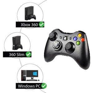 Wireless Xbox 360 Controller compatible with Microsoft Xbox 360, Xbox 360 Slim, and Windows 7 8 10
