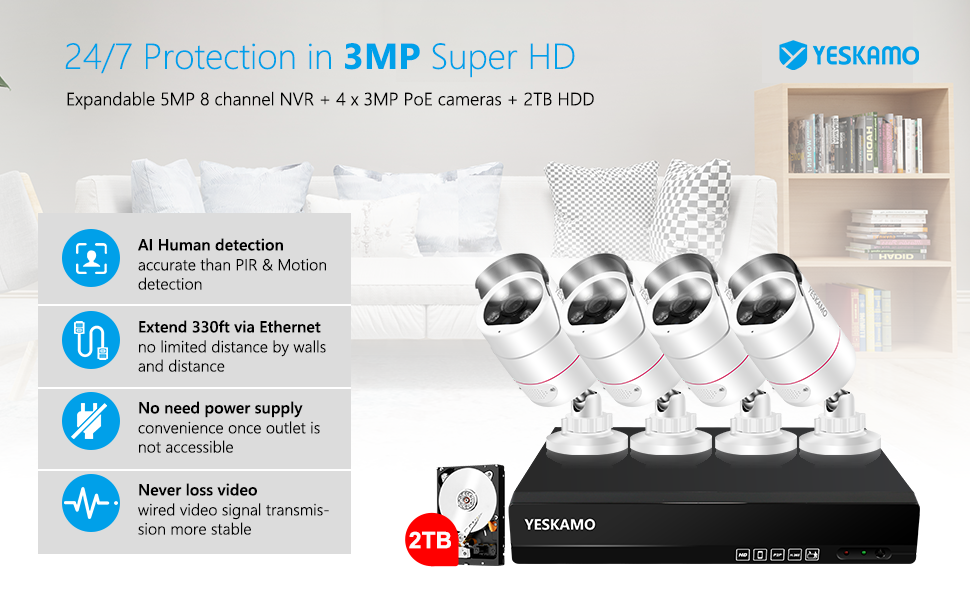 YESKAMO Home Security Camera System