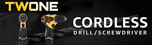 TWONE Lithium Ion Compact Cordless Drill/Driver Kit