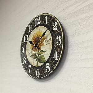 Sunflower Analog Clock Vintage Farmhouse Wall Art Decor Retro Indoor Wooden Round Clocks