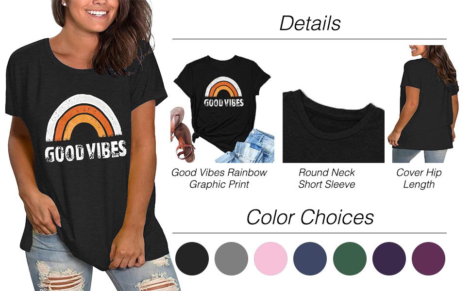 FERYSHE Womens Plus-Siae Summer Tops Good Vibes T Shirts XL-4XL