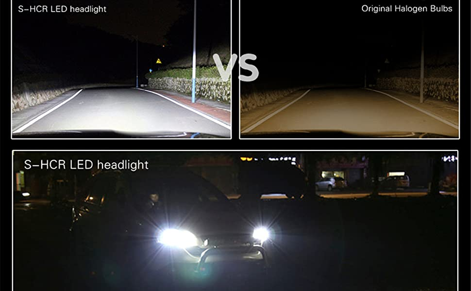Xtreme Bright H11 H9 H8 6000K Xenon White LED Headlight Bulbs VS Halogen