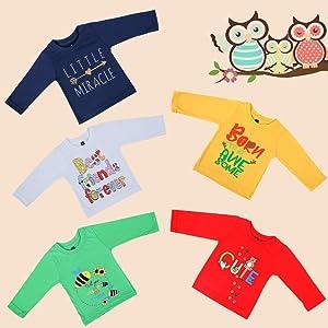 Kuchipoo Baby Boys' & Baby Girls' T-Shirt (Pack of 5)