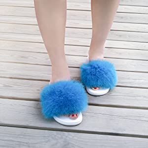 Real Fox Blue Fur Slides