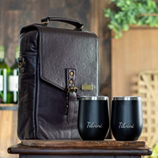 Tilvini Wine Gifts. Luxury Insulated Leather Wine Bags & Tumblers Gift Sets.