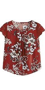 Milumia Women's Flower Print Lace Cap Sleeve Pleated Blouses Chiffon Work Top