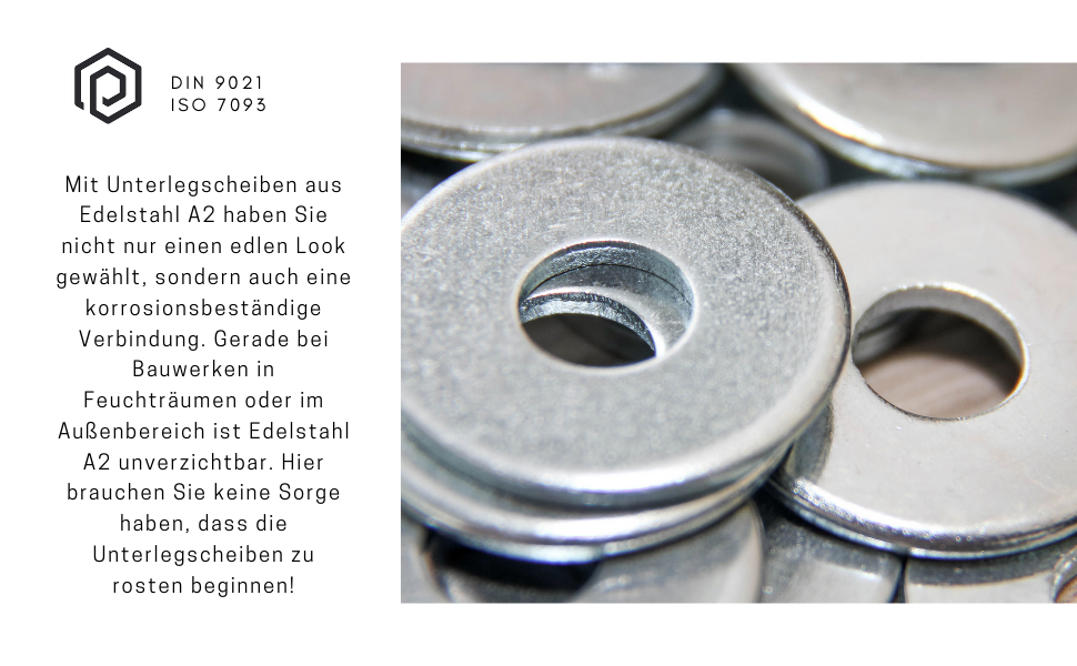 Edelstahl Beilagscheiben A2 V2A Rostfrei/U-Scheiben Form A Kotfl/ügelscheiben PROTECH Gro/ße Unterlegscheiben M10 DIN 9021-5 St/ück