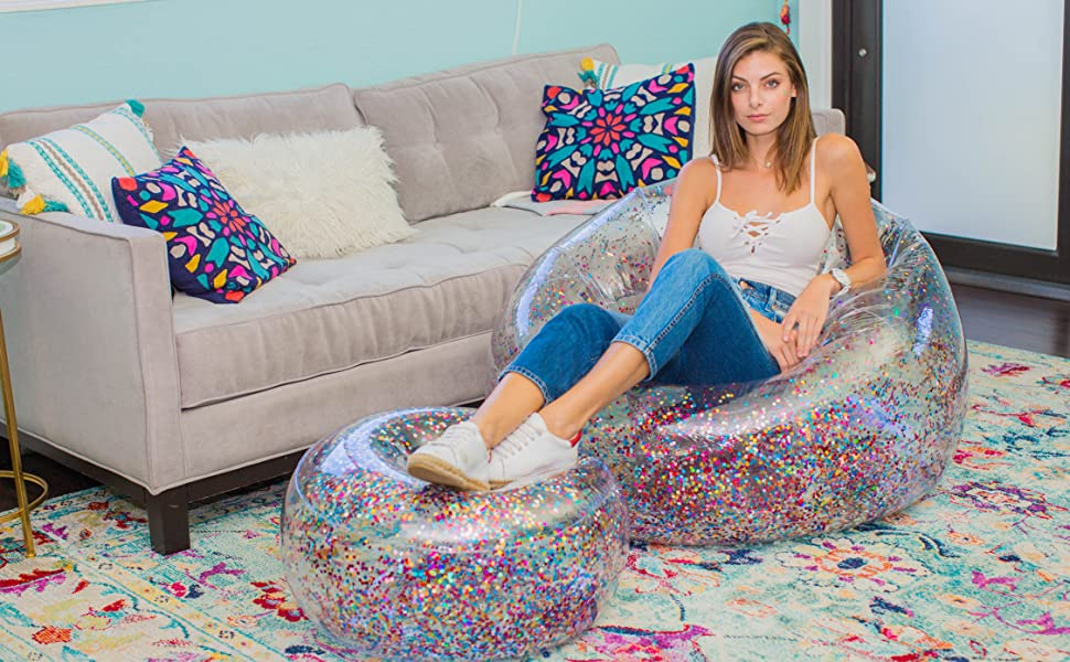 Living Rooms Glitter Blow Up Chairs 90/'s Style Furniture Easy to use /& Storage Indoors and Outdoors Exercial Inflatable Chair for Kids Bedrooms