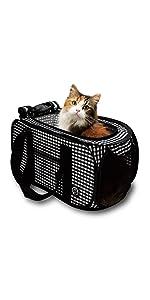 猫 猫壱 おでかけ ペット 可愛い シンプル  黒 収納 撥水 飛び出し防止 ロックジッパー 軽量 6kg 耐荷重 おちつくネット ネット