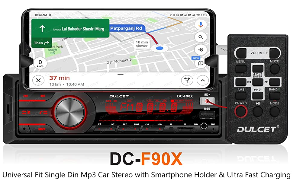 Dulcet DC-F90 Universal Fit Single Din Mp3 Car Stereo with Smartphone Holder & Ultra Fast Charging