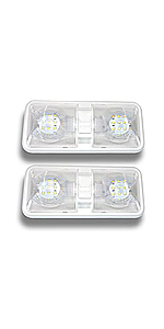 2 Pack Leisure LED RV LED Ceiling Double Dome Light Fixture with ON/OFF Switch Trailer Camper LM
