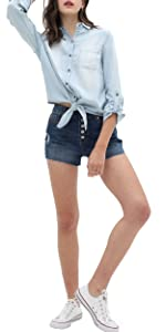 Women's Solid Button Down Long Sleeve Classic Outerwear Cropped Denim Jacket