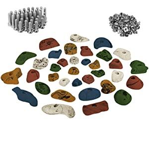 ALPIDEX 35 presas Set de iniciación - para Aprox. 3 a 5 m² de Superficie de Escalada - Tornillos y 100 Tuercas de inserción Inclusive