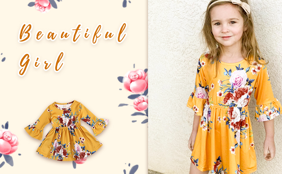 Flare sleeves girl floral dress