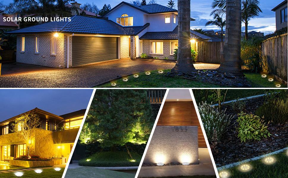 Solar Powered Disk Lights Outdoor Waterproof Garden Landscape Lighting