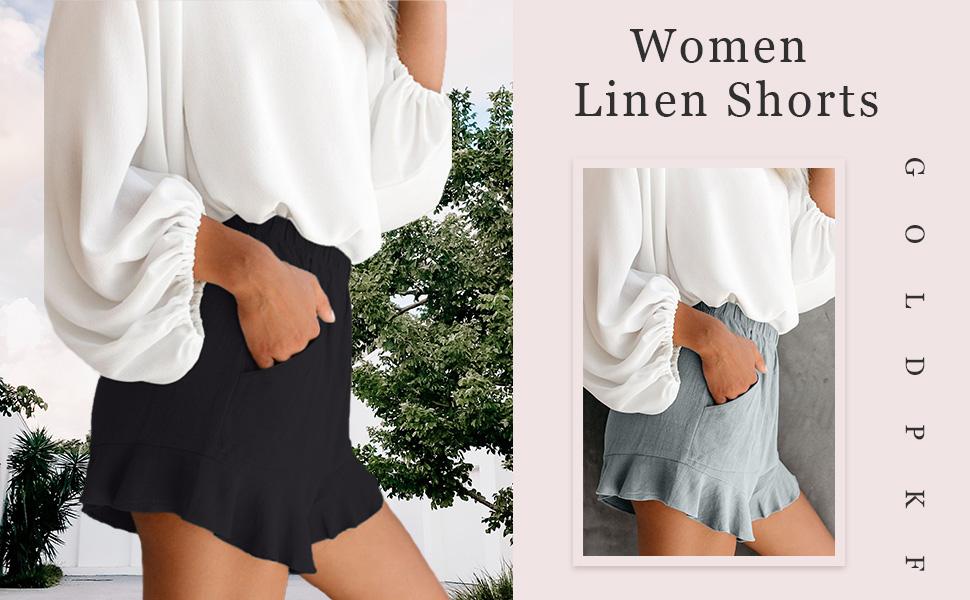 women linen shorts