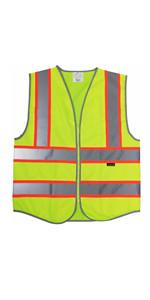 yellow vest - orange trim