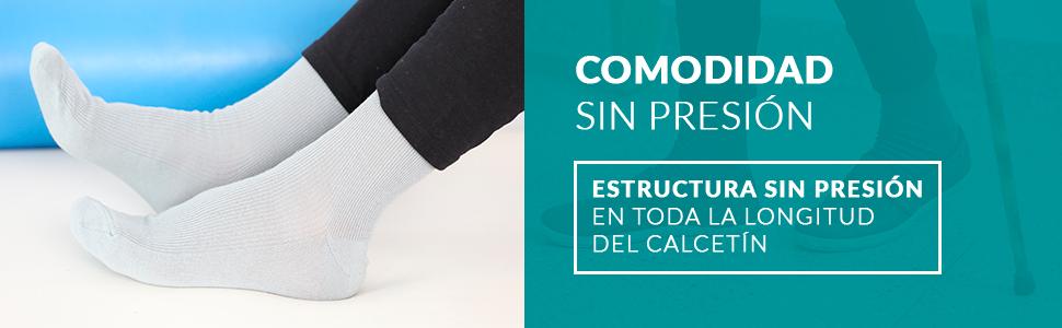 Comodidad sin presión Estructura sin presión en toda la longitud del calcetín.