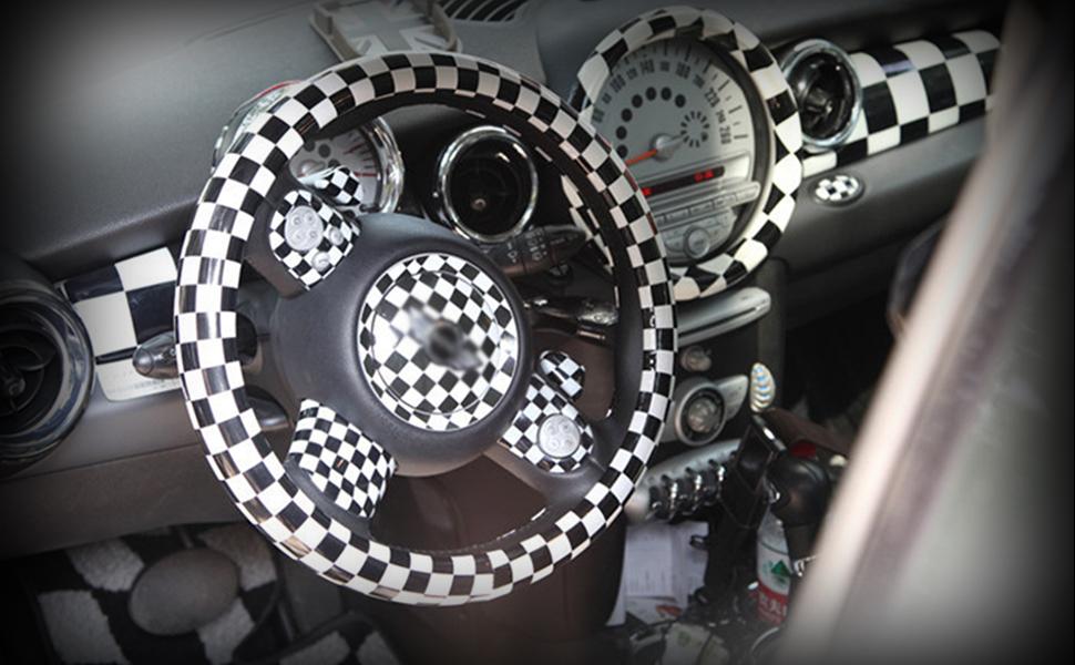 1 TANGDAO Autolenkradabdeckung personalisierte Lenkradabdeckung neutral 38 cm oder 15 Zoll