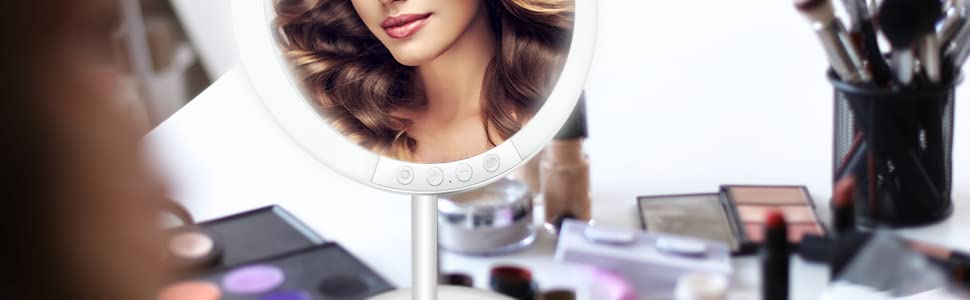 makeup mirror with lights and magnification adjustable height bright light compact cordless
