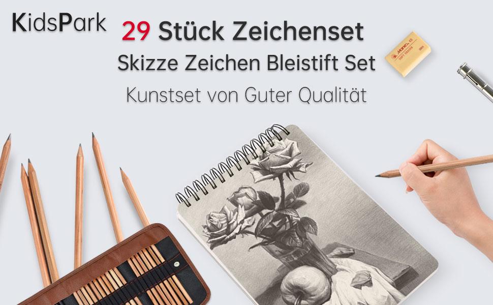 Cikonielf Kohlestift Bleistift Skizzierstifte Zeichnen Skizzieren Bleistift f/ür Anf/änger 3B Profis und K/ünstler