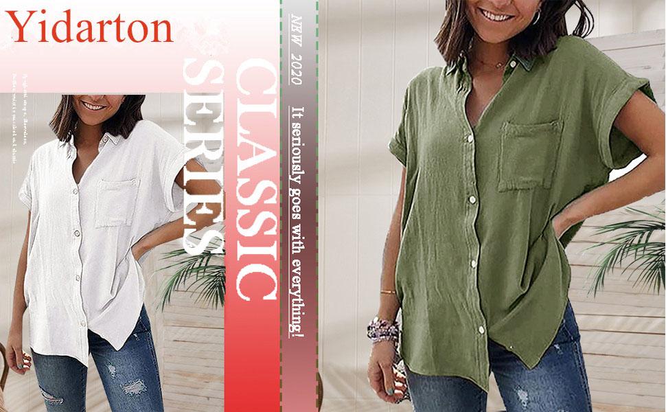 Yidarton Blusa de verano para mujer, elegante, manga corta, cuello en V, con botones, con bolsillos en el pecho