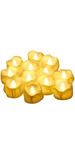 f/ür Weihnachten Feiertagsdekorationen im Freien 12 St/ück warmwei/ßes flackerndes LED-Teelicht mit Fernbedienung und batteriebetriebenen CR2450-Kerzen Elektrisch hell Dauerhaft 100h