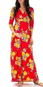 Women's Wraped Ruched Maternity Dress
