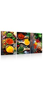 Ingredient Canvas Picture for Kitchen Herbs And Spices Wall Art Painting Food