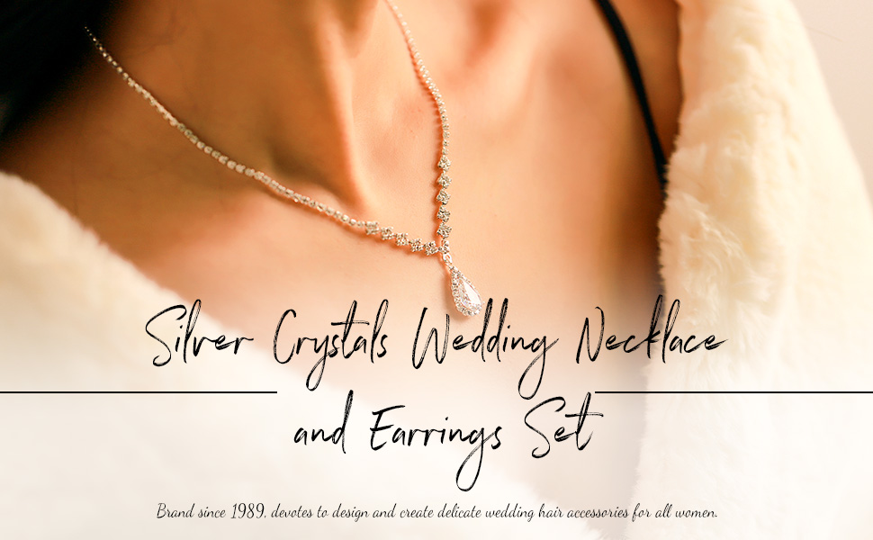 rhinestone necklace bridal and wedding necklace and earrings women bridal jewelry set for bride
